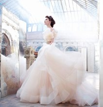 <b>Style: LZ3250</b> <br /> Sherbet tulle bridal ball gown, sweetheart neckline, silk satin organza bodice with floral jewel encrusted band at natural waist, circular gathered skirt with horsehair hem, chapel train