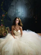 Style:LZ3108 Sherbet tulle ball bridal gown, pleated silk satin organza bodice with sweetheart neckline, floral jewel encrusted band at natural waist, circular gathered skirt, chapel train.  Dress available in Sherbet, Ivory, and White