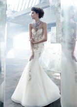 Style LZ3306 Ivory tulle jeweled art deco trumpet bridal gown, sweetheart neckline, horsehair accent at hem, sweep train.
