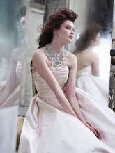 Style:LZ3265 Blush silk faced satin ball gown with jeweled Victorian collar, curved neckline, ruched bodice, natural waist, gathered A-line skirt, modified chapel train