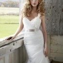Style 1205: Slim organza bridal gown with Tulle veiling, hand placed lace appliques and Satin sash.