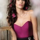 "Style jh5121 Magenta silky taffeta strapless ball bridesmaid gown, sweetheart neckline, black grosgrain ribbon belt at natural waist, ""side pockets""."