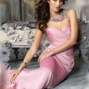 Style jh5128 Ballet luminescent chiffon strapless bridesmaid dress, draped bodice and skirt with necklace. Dress available with or without NECKLACE.