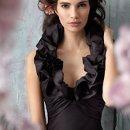 Style jh5132 Black silky taffeta A-line bridesmaid gown, draped empire bodice with ruffle halter neckline.