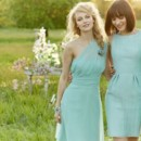 From Right: Style JH5375 Mint crinkle chiffon A-line bridesmaid dress, draped V-neck bodice, natural waist, ruffle cascade skirt detail. Style JH5373 Celadon textured linen sheath bridesmaid dress, bateau neckline with natural waist, pockets at side. Style JH5374  Ice blue chiffon A-line bridesmaid dress, one shoulder neckline with asymmetrically draped waistband, soft gathered skirt. Available in stores mid-summer 2013.