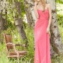 Style JH5360 Coral crinkle chiffon A-line bridesmaid gown, strapless bodice with natural waist, side front drape detail.