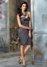 Style jh5117 Charcoal luminescent strapless bridesmaid dress, sweetheart neckline, draped bodice, asymmetrical draped skirt, pillowcase hem with necklace. Dress available with or without NECKLACE.