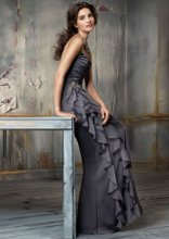 Style jh5120 Charcoal luminescent chiffon modified A-line bridesmaid gown, square neckline, draped bodice, natural waist with crystal detail and side cascade.