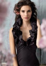 Style jh5132 Black silky taffeta A-line bridesmaid gown, draped empire bodice with ruffle halter neckline.