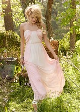 Style JH5357 Blush and Rose chiffon over ivory lining strapless A-line gown, curved draped neckline, natural waist with gathered skirt.