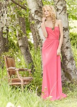 Style JH5360 <br /> Coral crinkle chiffon A-line bridesmaid gown, strapless bodice with natural waist, side front drape detail.
