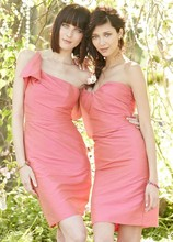 From Right: Style JH5363  Sunset dupioni modified trumpet bridesmaid gown, curved strapless bodice with soft draping, natural waist. Style JH5372 Acorn dupioni modified trumpet bridesmaid gown, draped one shoulder neckline with ruffle detail, natural waist.