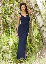 Style JH5366 Indigo chiffon A-line bridesmaid gown, draped V-neck with cap sleeves, covered back with center slit, gathered band at empire bodice, side front slit.