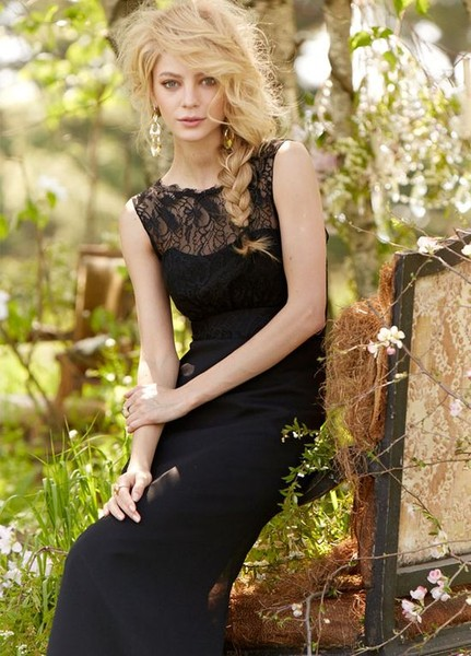 Style JH5368 <br> Noir luminescent chiffon A-line bridesmaid gown, Black lace draped illusion bateau neckline and band at natural waist, soft gathered skirt.