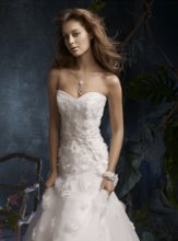 TK2106 Ivory tulle bridal ball gown with hand beaded and embroidered floral appliques. Sweetheart neckline, chapel train.
