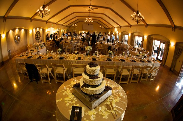 Black gold ivory indoor reception vineyard wedding reception photos pictures - Black and gold wedding reception decorations ...