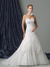 Style #J11169 Strapless lace and illusion full A-line gown, softly curved neckline with hand-beaded trim, low dipped back bodice, all over soft lace dress adorned with three-dimensional lace flowers accented with delicate beading, illusion underskirt extends into chapel length train. Removable straps included.
