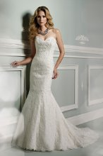 Style No. J11302 Strapless allover corded lace slim A-line gown, sweetheart neckline trimmed with hand-beaded lace appliqué, scallop hemline spills into chapel length train, detachable spaghetti and halter straps included.
