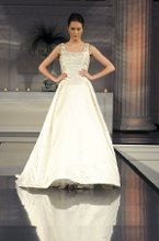 Style: Catherine Banded silk satin ballgown with beaded front and back neckline