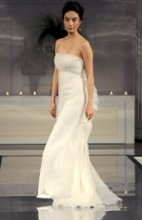 Style: Charlize Strapless silk organza with beaded and scalloped cascade along back