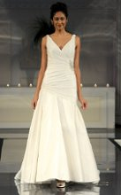 Style: Chelsea Structured asymmetrical memory taffeta gown with beaded side applique