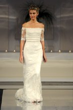 Style: Chloe Lace and charmeuse off the shoulder gown with beaded banding on bodice