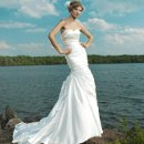 Style #3666 Strapless sweetheart ruched asymmetrical shimmer charmeuse mermaid with pleated skirt with buttons down back zipper chapel train