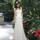 Style #3745 An all over lace A-line gown with a sweetheart neckline. This style has a lace up back and and a chapel length train.
