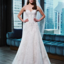 9773 Tulle, corded lace, beaded lace A-line dress embellished by a sweetheart neckline