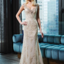 9775 Metallic venice lace straight dress highlighted by a V-neck