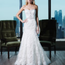 Style 9771 Embroidered lace fit and flare dress featuring a sweetheart neckline