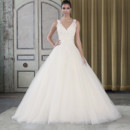 Style 9793  Beaded Venice lace and tulle ball gown with a v-neck neckline.