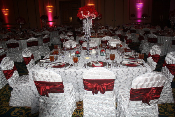 Romantic Burgundy Silver Ballroom Calla Lily Centerpiece Decor Hydrangea Lily Rose Wedding ...