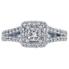 <b>1ct TW Diamond Engagement Ring, GIA® Graded</b> <br /> 18 karat white gold engagement ring with princess cut and round brilliant cut diamonds weighing approximately 1 carat TW