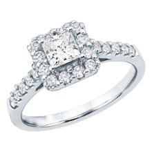 <b>Princess Cut &amp; Round Diamond Engagement Ring, GIA® Graded</b> <br /> 18 karat white gold engagement ring with princess cut and round brilliant cut diamonds weighing approximately 1 carat TW