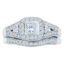 <b>1/2ct TW Diamond Engagement Ring Set</b> <br /> 14 karat white gold bridal set with princess cut and round diamonds weighing approximately 1/2 carat TW