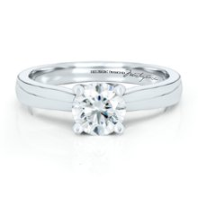 <b>1 Carat Helzberg Diamond Masterpiece®, Degas Diamond™</b> <br /> 18 kt white gold engagement ring with a round brilliant cut Helzberg Diamond Masterpiece® weighing approximately 1 carat