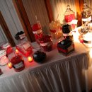 Why not make your candy buffet a part of your decor? This buffet was only done in the wedding's colors.