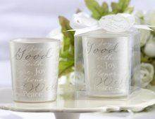 """Good Wishes"" Pearlescent Glass Tealight Holder (Set of 4)"