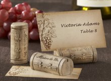 """Maison du Vin"" Wine Cork Place Card/Photo Holder with Grape-Themed Place Cards (Set of Four)"