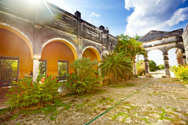 When visiting Mexico, make note of the architecture. Seen here is Hacienda Yaxcopoil, located in Yucatan, Mexico. It is an historic Yucatan landmark that embodies the grandeur of the 17th century Spanish colonial era.