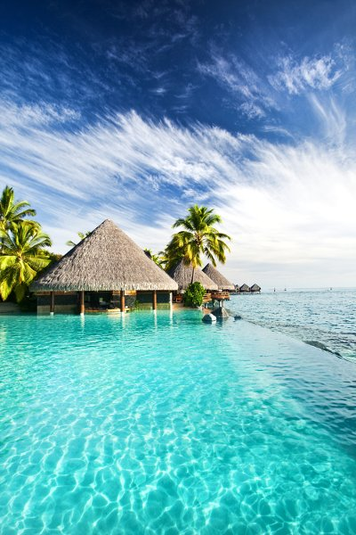 Enjoy luxury infinity pools and enchanting oceans swims during your stay in Tahiti.