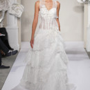 Sweetheart A-Line Gown in Chantilly Lace This a-line gown features a sweetheart neckline with a dropped waist in chantilly lace and silk. It has a chapel train. This gown is Exclusive to Kleinfeld Bridal. Style Number:32614331