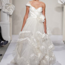 Sweetheart A-Line Gown in Satin This a-line gown features a sweetheart neckline with a natural waist in satin and organza. It has a sweep train. This gown is Exclusive to Kleinfeld Bridal. Style Number:32614265