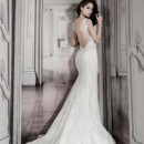 Pnina Tornai Style 4290  Off white lace sheath with plunging backline and cap sleeves.