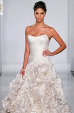 Style 4137 This mermaid gown features a strapless neckline with a dropped waist in silk duchess. It has a chapel train. This gown is Exclusive to Kleinfeld Bridal. Retail Price: $26,700