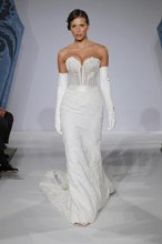 Mark Zunino MZBS1202 Chantilly lace ruched bustier w/ beaded lace decollete, bustle skirt of beaded lace over silk faille