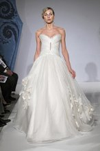 Mark Zunino MZBS1211 Silk organza hand ruched bodice with keyhole and multi layer organza ball skirt - accented with silk hand made flowers and vine embellishments