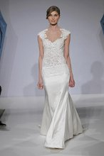 Mark Zunino MZBS1217 Beaded laser cut satin over illusion gown with cap sleeves, dropped waist bodice, and crepe back satin skirt - accented with satin covered French buttons