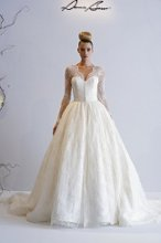 DENNIS BASSO V Neck Princess Ball Gown in Chantilly Lace